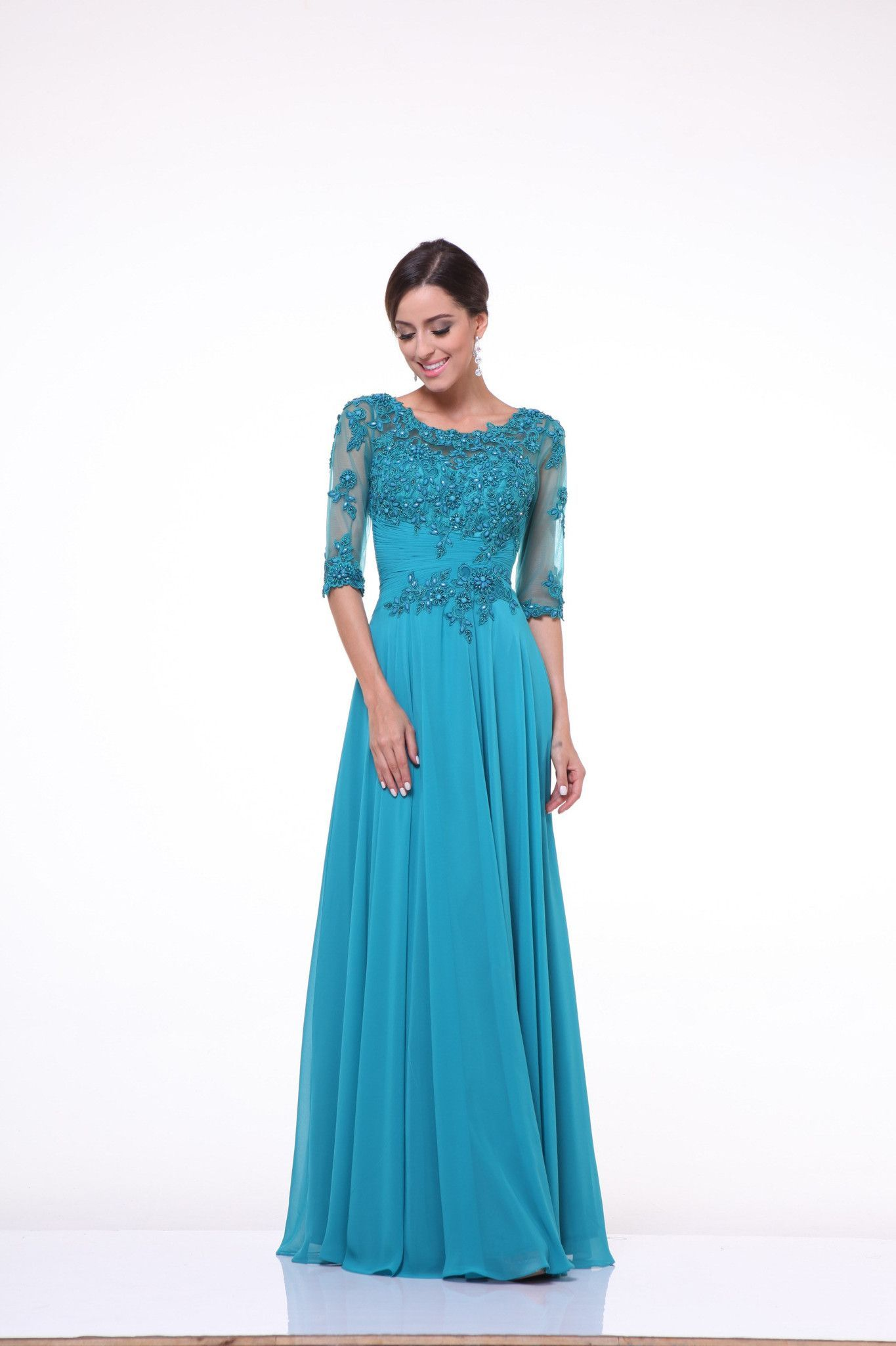 Formal Long Sleeve Plus Size Mother of the Bride Evening Dress ...
