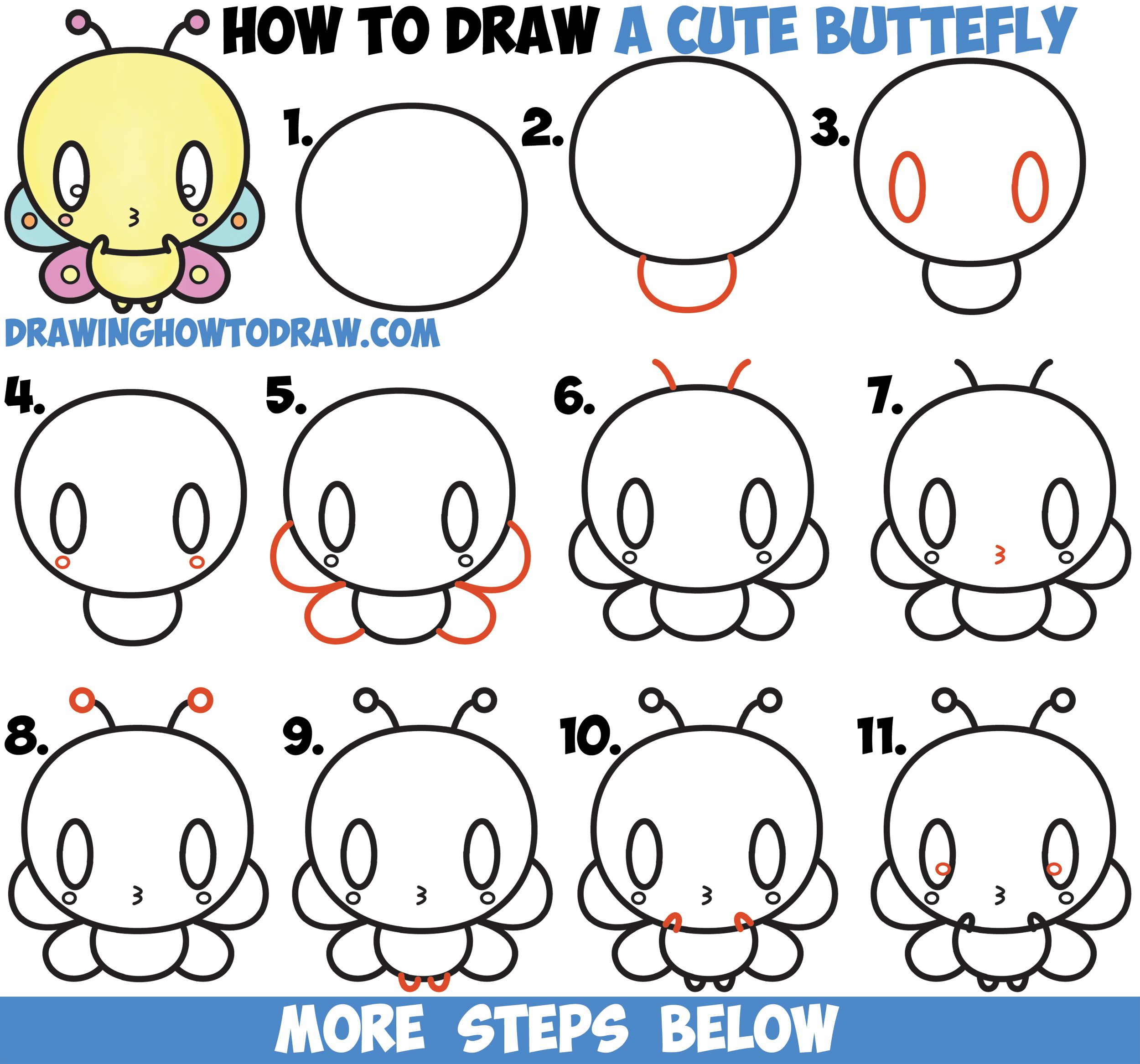 How To Draw Cute Kawaii Cartoon Butterfly Easy Step By Step Drawing Tutorial For Kids How To Draw Step By Step Drawing Tutorials Step By Step Drawing Cartoon Butterfly Drawing