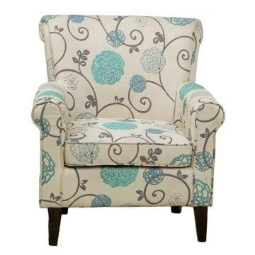 Cream Fabric With Blue And Grey Floral Print For The