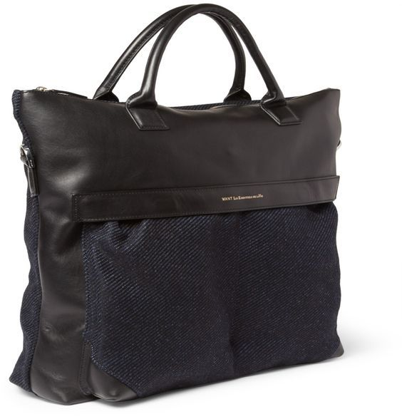 PRODUCT - WANT Les Essentiels de la Vie - O'Hare Leather-Trimmed Tweed Tote Bag - 373184|MR PORTER  I like how the trim on top of the pocket keep the shape stream lined: