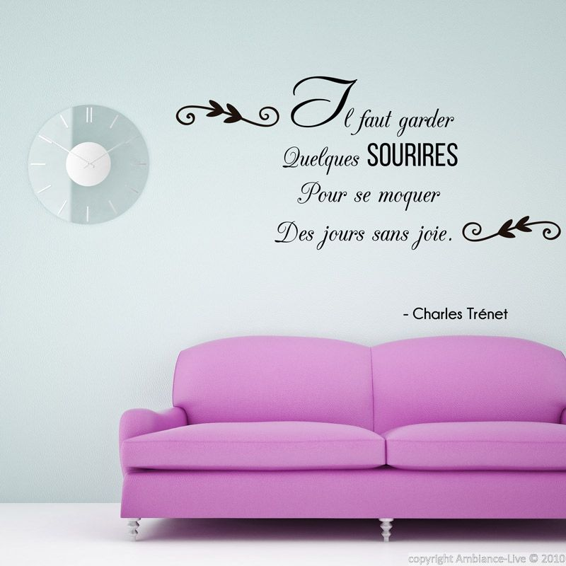 stickers muraux citations sticker il faut garder sourire ch tr net ambiance. Black Bedroom Furniture Sets. Home Design Ideas