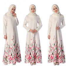 Vintage Floral Embroidered Kaftan Abaya Islamic Muslim Long Sleeve Maxi Dress UK