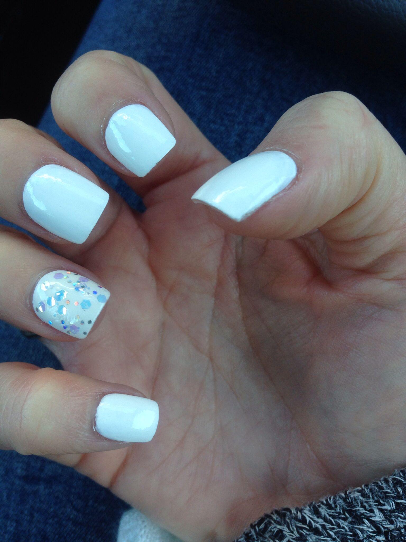 White Sparkle Winter Nails Winter Nails Dream Nails Nails