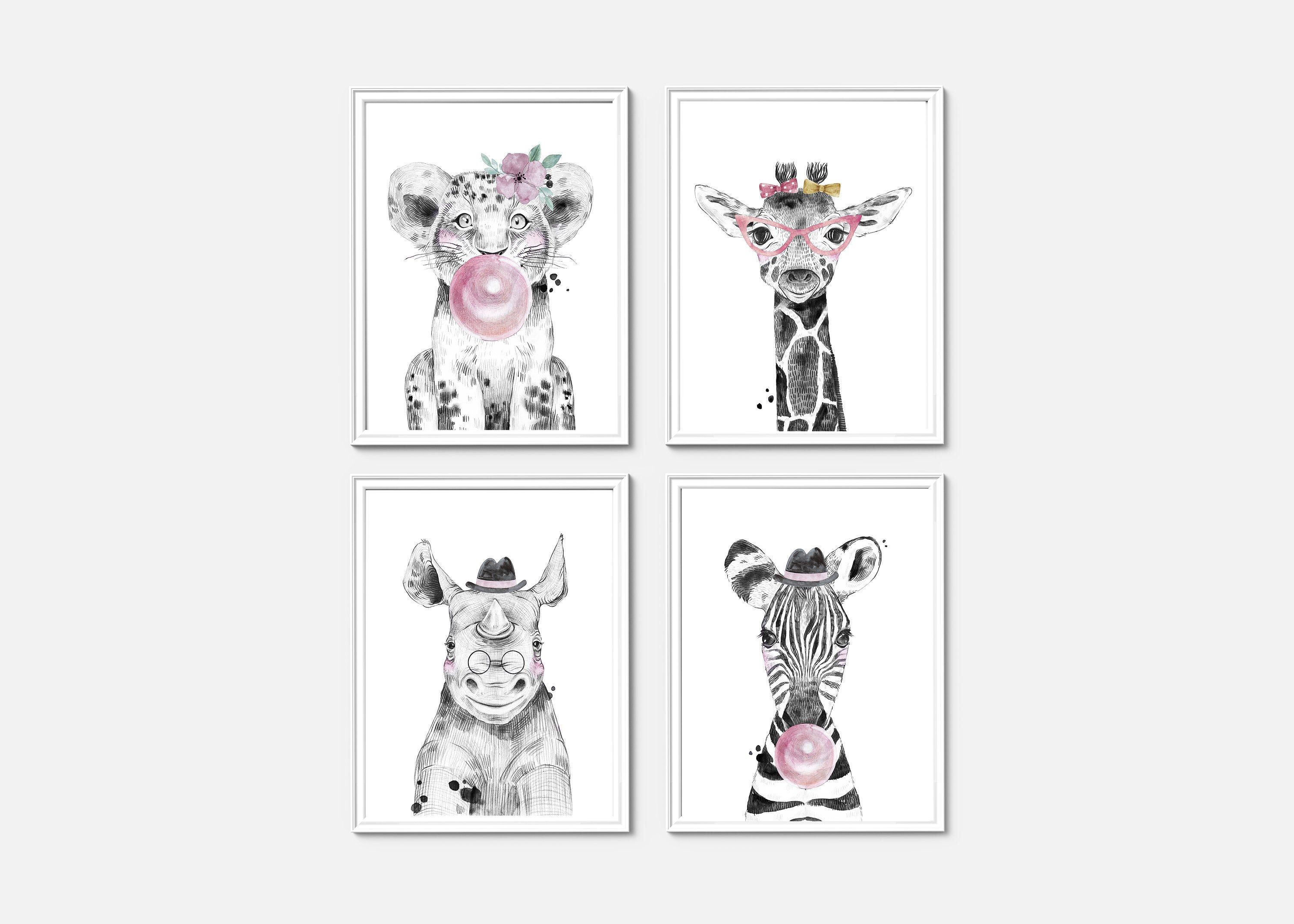 Set Of 4 Safari Animal Prints Nursery Wall Decor Watercolor