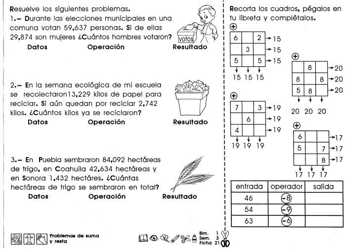 Problemas de suma y resta 4to Grado | mafalda | Math, Education y ...