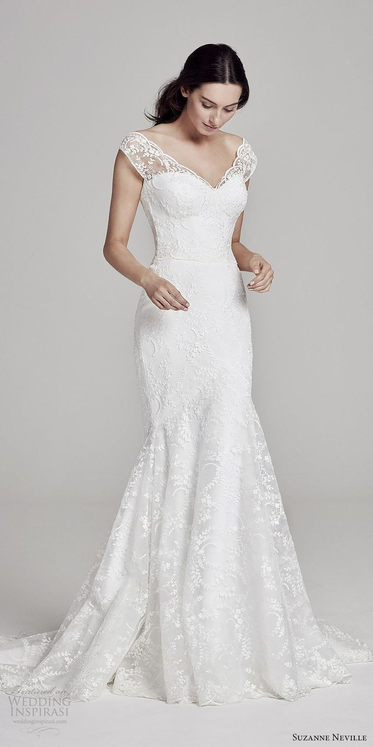 Lace fit and flare wedding dress with sleeves  Suzanne Neville  Wedding Dresses  Wedding Dresses  Pinterest