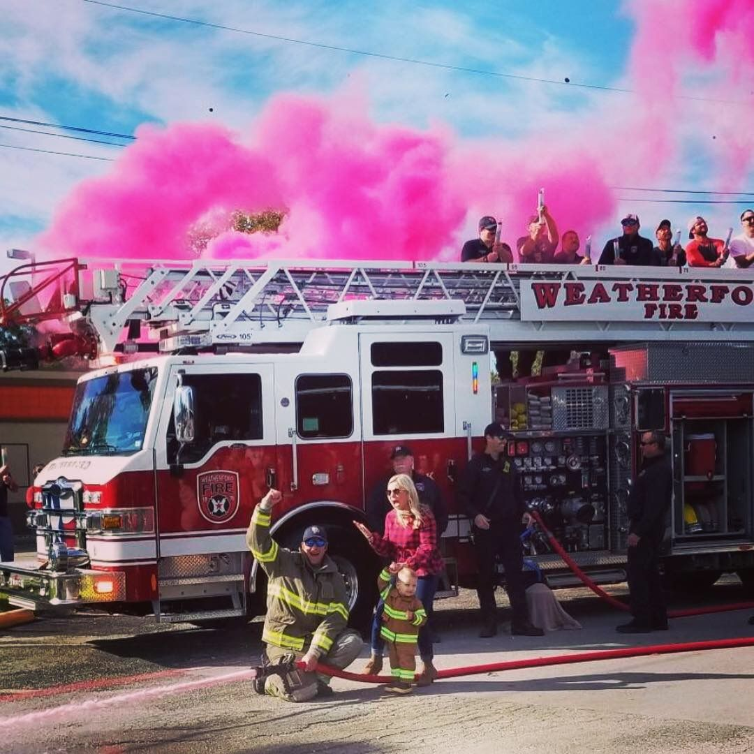 Gender Reveal Firetruck Gender Reveal Smoke Cannons It S A Girl Girl Baby Gender Reveal Party Baby Gender Reveal Firefighter Baby
