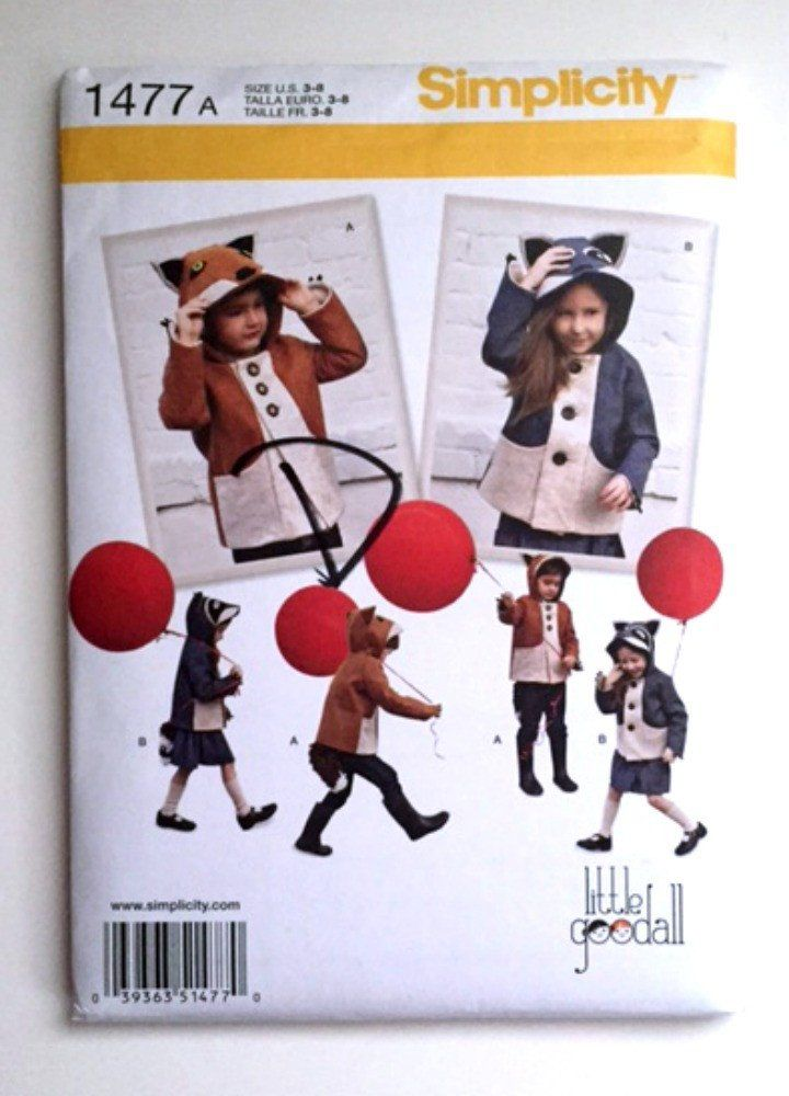 Simplicity 1477 Sewing Pattern Fox Raccoon Jacket Halloween Costume ...