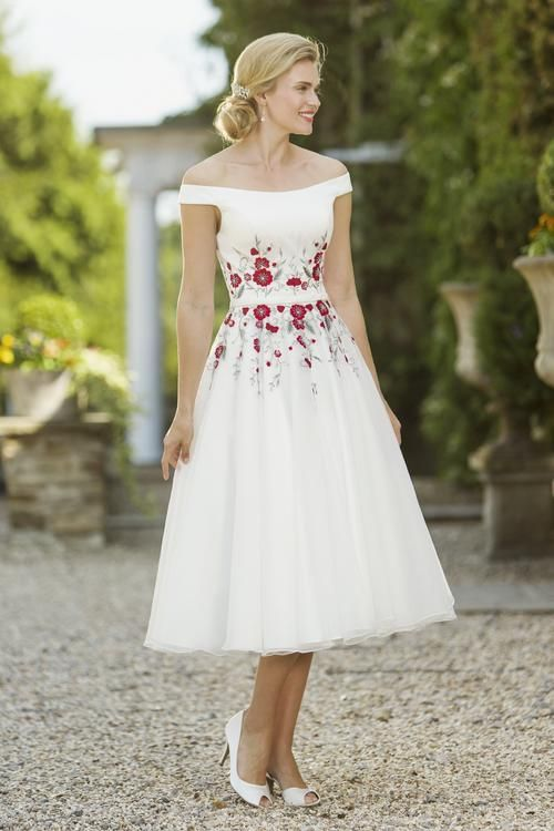 Print Tea Length Wedding Dresses