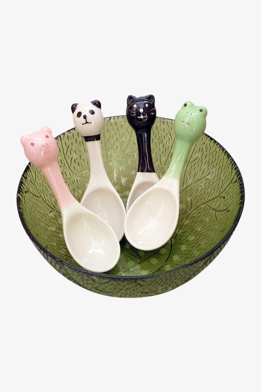 Two Pieces Cartoon Design Ceramic Spoons