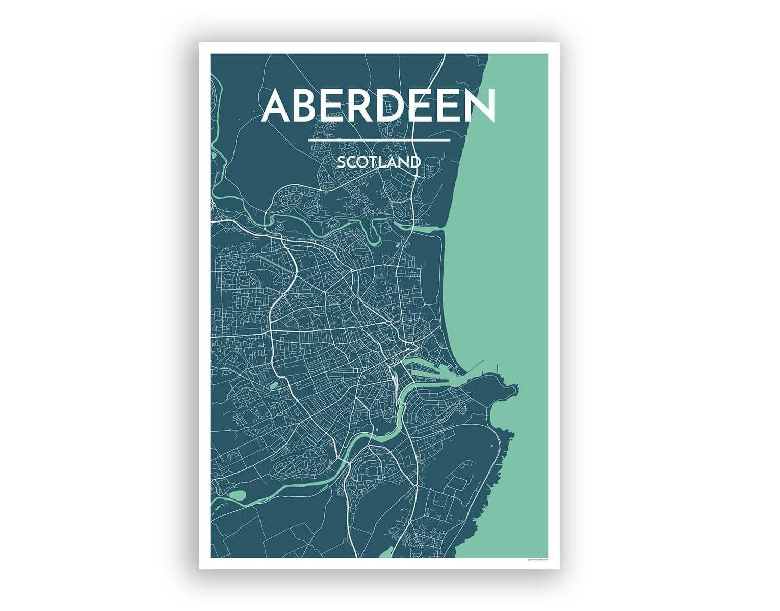 Aberdeen city map print printed via color press on high quality aberdeen city map print printed via color press on high quality 13x19 card stock prints are shipped rolled in a tube and are ready to hang on the wall as gumiabroncs Images