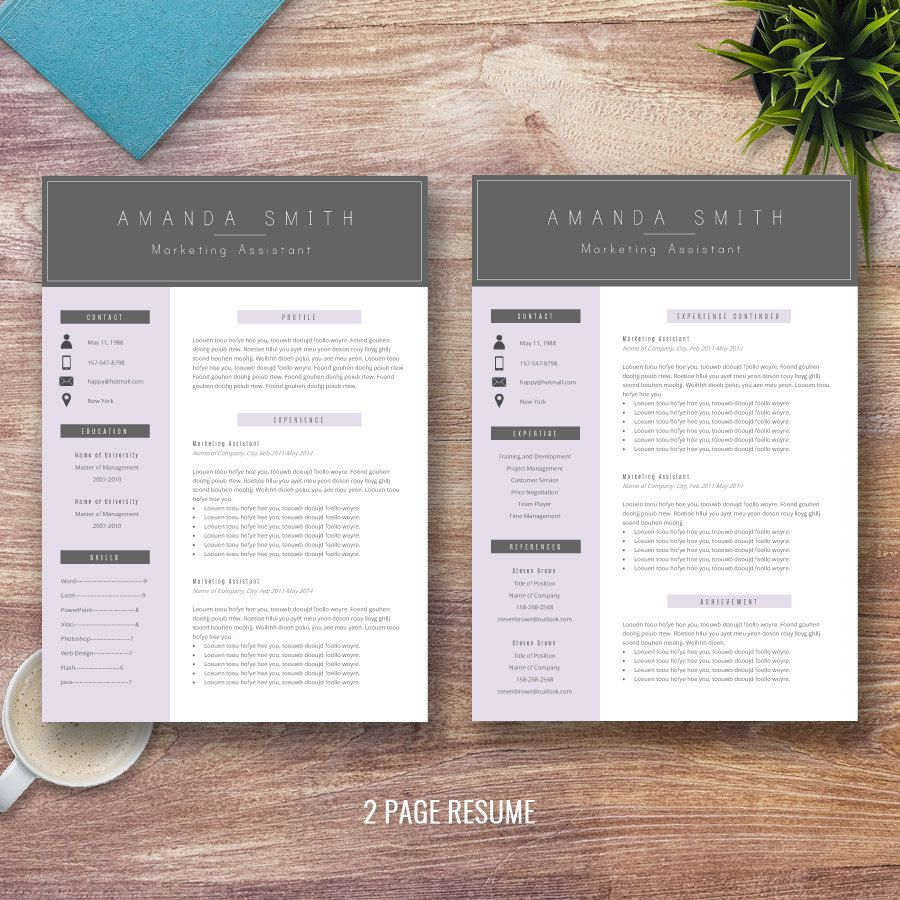 Professional Resume Template for Word 1 and 2 Page by ResumeExpert ...