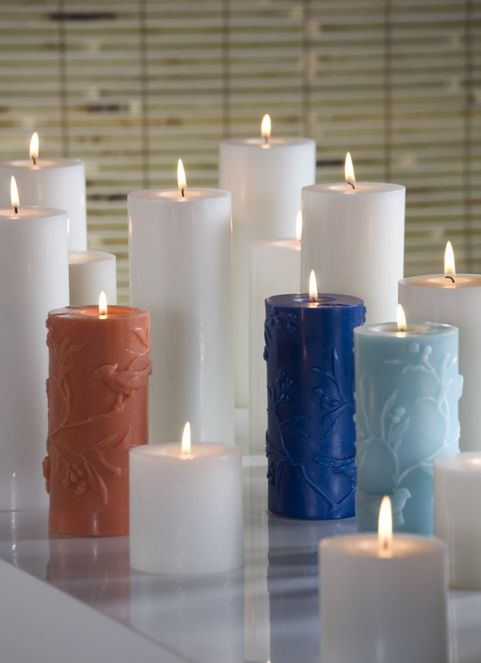 Pillar Candles in White, Orange, Blue and Teal
