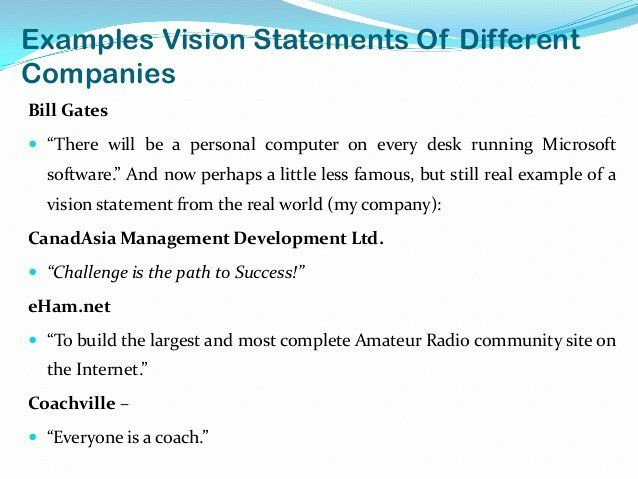 Personal Vision Statement Examples Business Elegant Vision ...