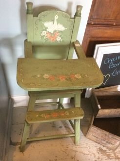 Swedish 1930s Hand Painted High Chair - The Gaiety Antique u0026 Vintage Store - TrafficAttic & Swedish 1930s Hand Painted High Chair - The Gaiety Antique u0026 Vintage ...