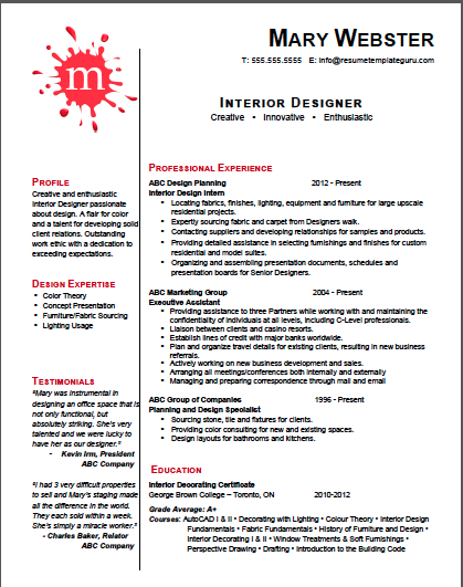 Keyword optimized and customizable Interior Designer #resume ...