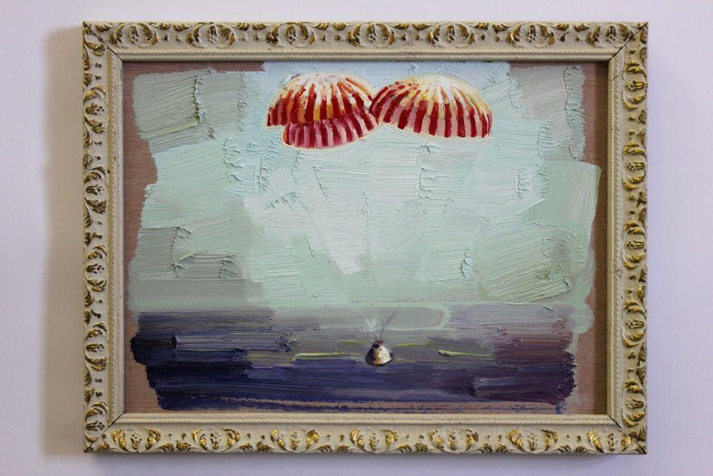 Nigel Mullins / Apollo 11 Splash Down / oil on panel & frame / 25 x ...
