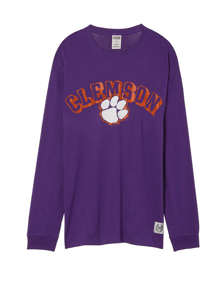 Victoria Secret PINK Clemson Tigers Long Sleeve Campus Tee Bling S fits M NWT | eBay