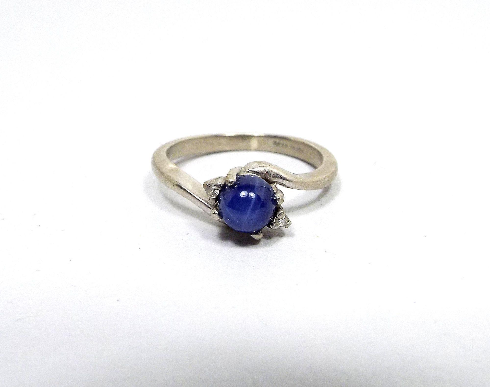 Small Vintage 10k White Gold Blue Star Sapphire Gemstone And Diamond Ring Mid Century 1960s 60s By S Star Sapphire Gemstone Blue Star Sapphire Vintage Jewelry