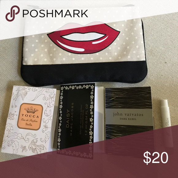 4 perfume samples and makeup bag 4 perfume samples and makeup bag. Contains: Tocca by Stella, Daisy by Marc Jacobs, Dark Rebel by John Varvatos, and Miss Dior by Dior with a super cute and fun looking makeup bag Makeup