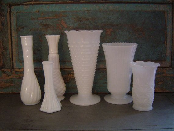 Milk Glass Vases Wedding Centerpieces Collection of 6 $48