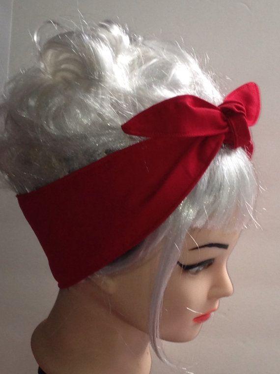 redsolid red headband pinup vintage
