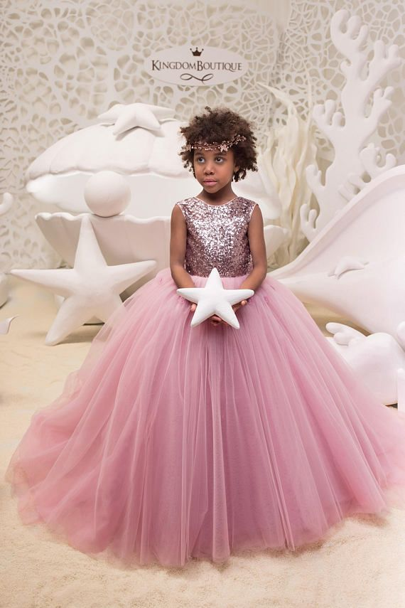 d5ce00aeb3d2 Blush Pink Flower Girl Dress with Sparkling Sequins - Birthday Wedding  Party Holiday Bridesmaid Flow