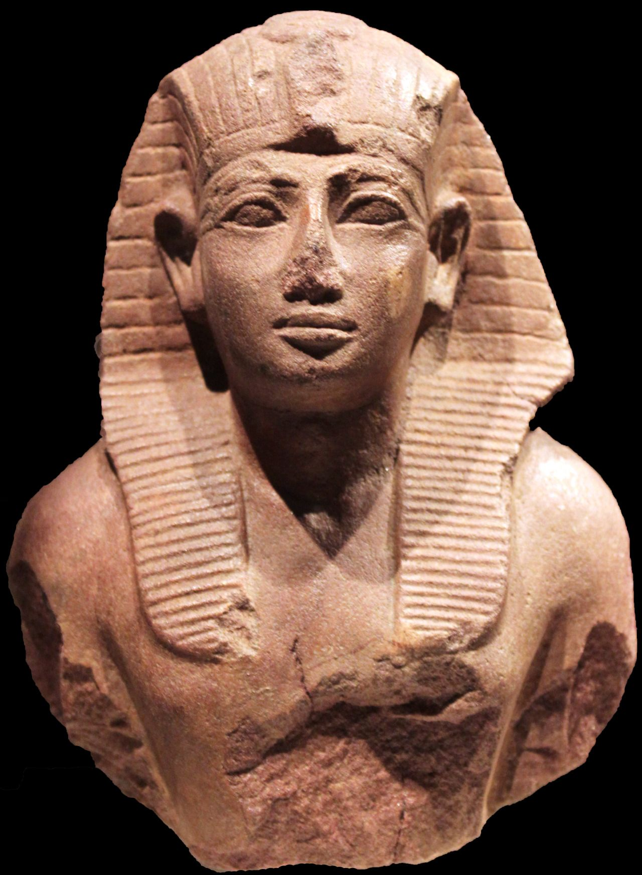 Upper part of a statue of the king Amenotep II, Ancient Egyptian, 18th Dynasty (ca. 1425 BC).
