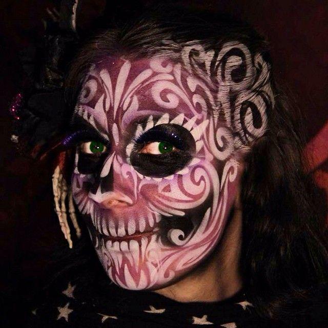Airbrush sugar skull Wiser Oner painted on me Oct 31, 2014