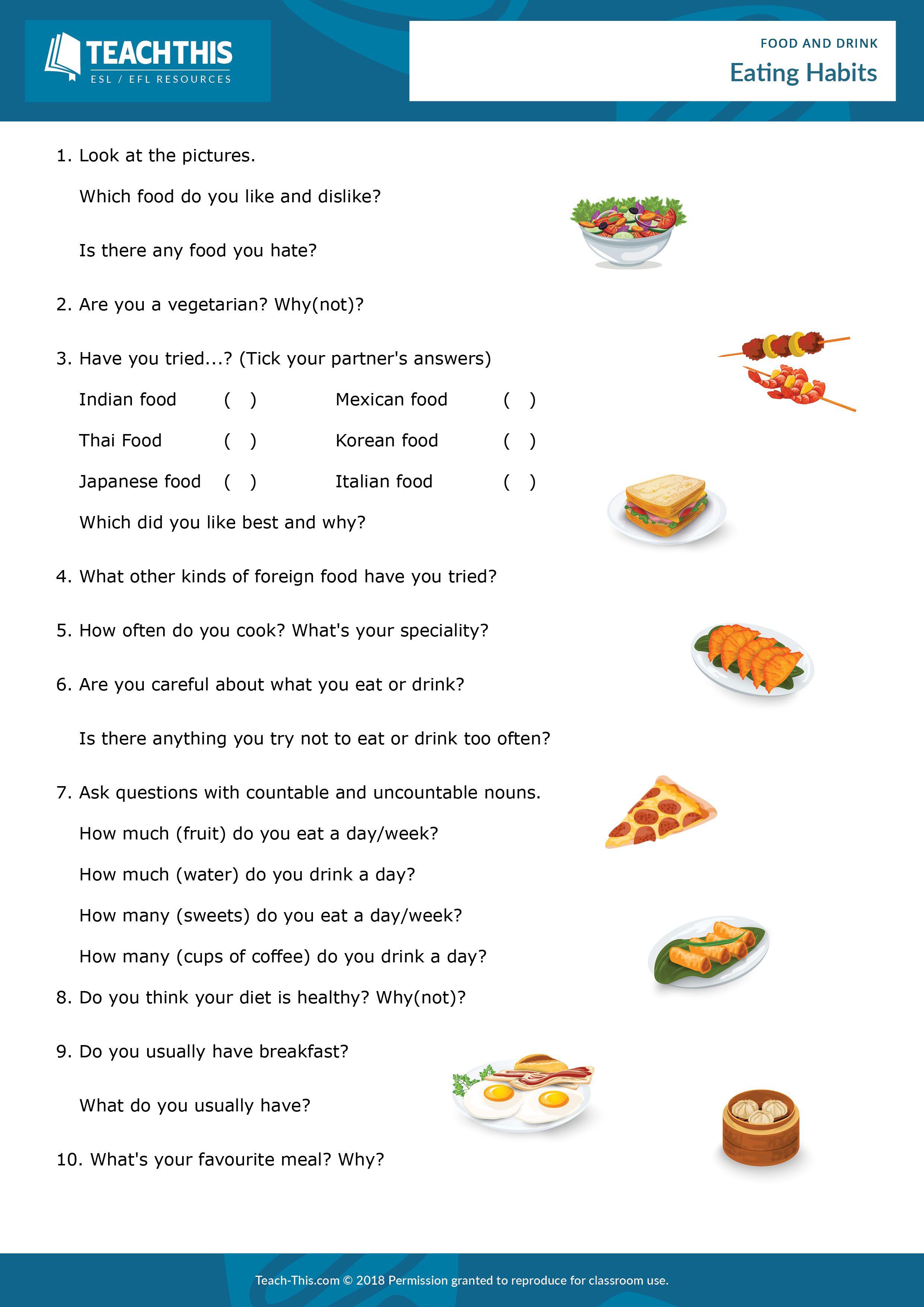 Food and Drink Eating habits, Food drink, Food
