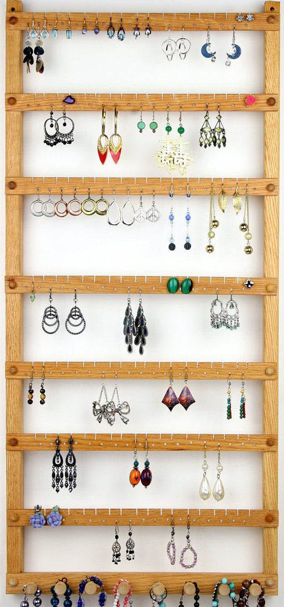 Photo of 126 Pair Hanging Earring Holder – Jewelry Organizer, Oak, Wood, Necklace Display. 8 pegs.  Wall Mounted. Jewelry Holder