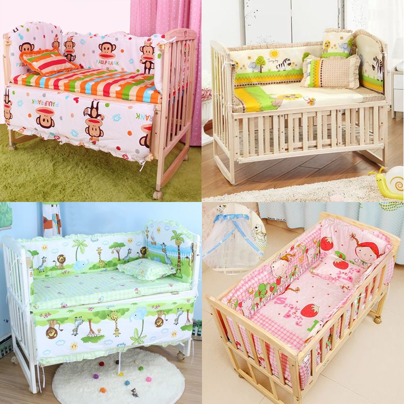 Cotton Baby Crib Liner Baby Crib Bumper Baby Bed Around Monkey Bedding Set 6 Pcs Safe Mother & Kids