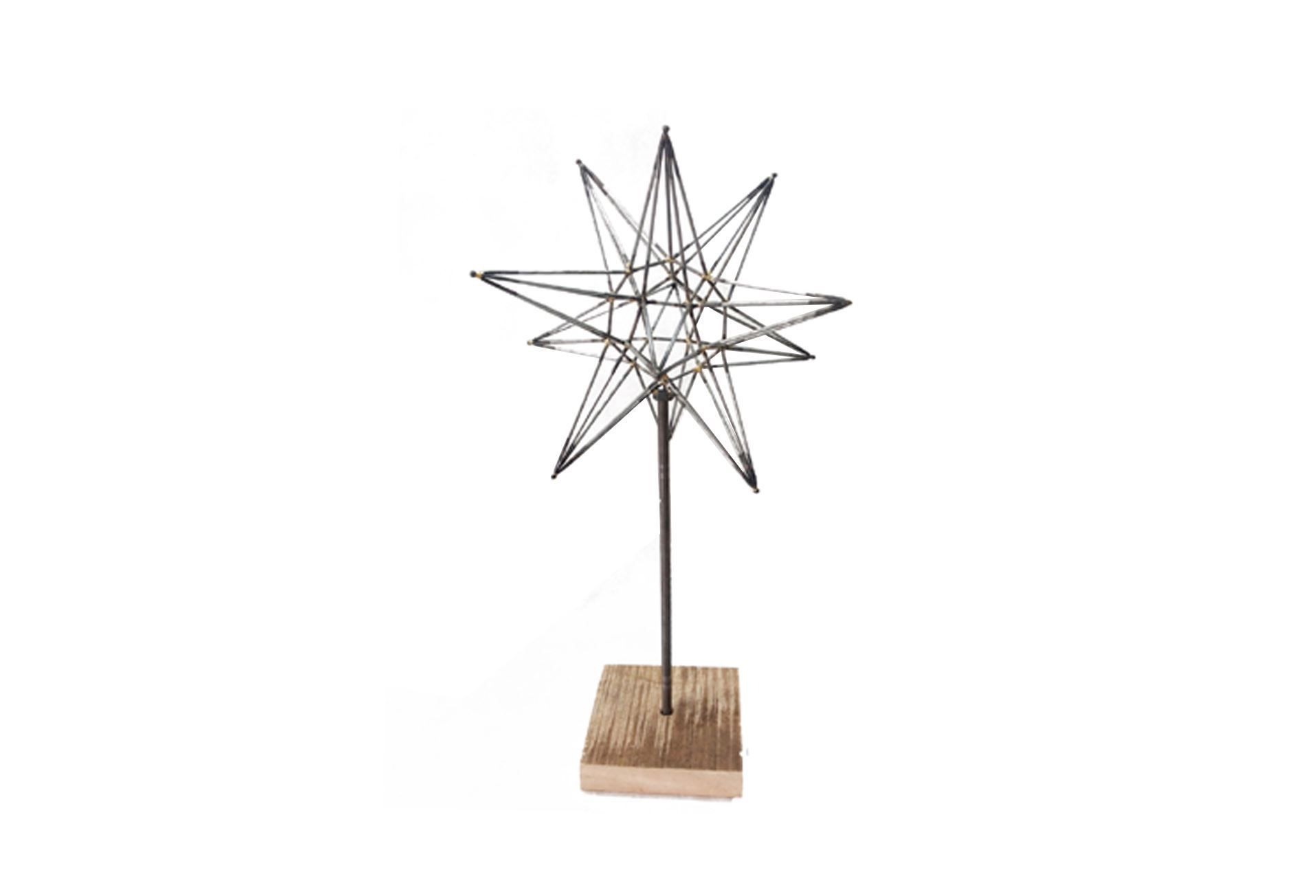 Large Metal Star On Wood - Signature