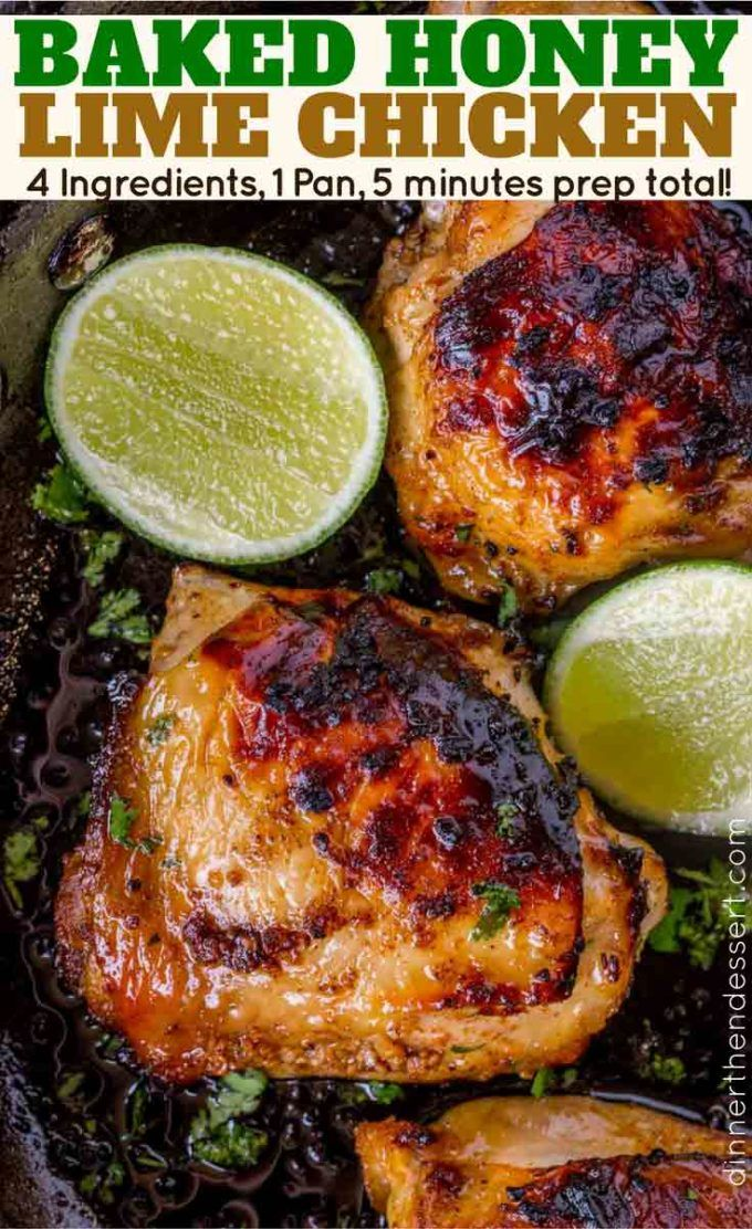 Baked Honey Lime Chicken with just 4 total ingredients browned then baked in the same skillet and the results are crispy, citrusy, sweet and tender. Baked Honey Lime Chicken Baked Honey Lime Chicken is packed with flavor with practically no effort whatsoever and just a small handful of ingredients. This dish is one of our … #honeylimechicken