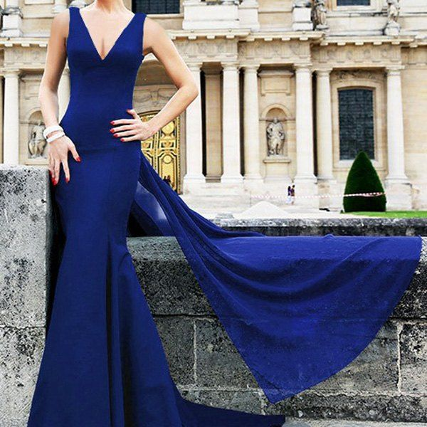 Wholesale Alluring Sleeveless Plunging Neck Solid Color Backless Women's Dress Only $9.86 Drop Shipping | TrendsGal.com