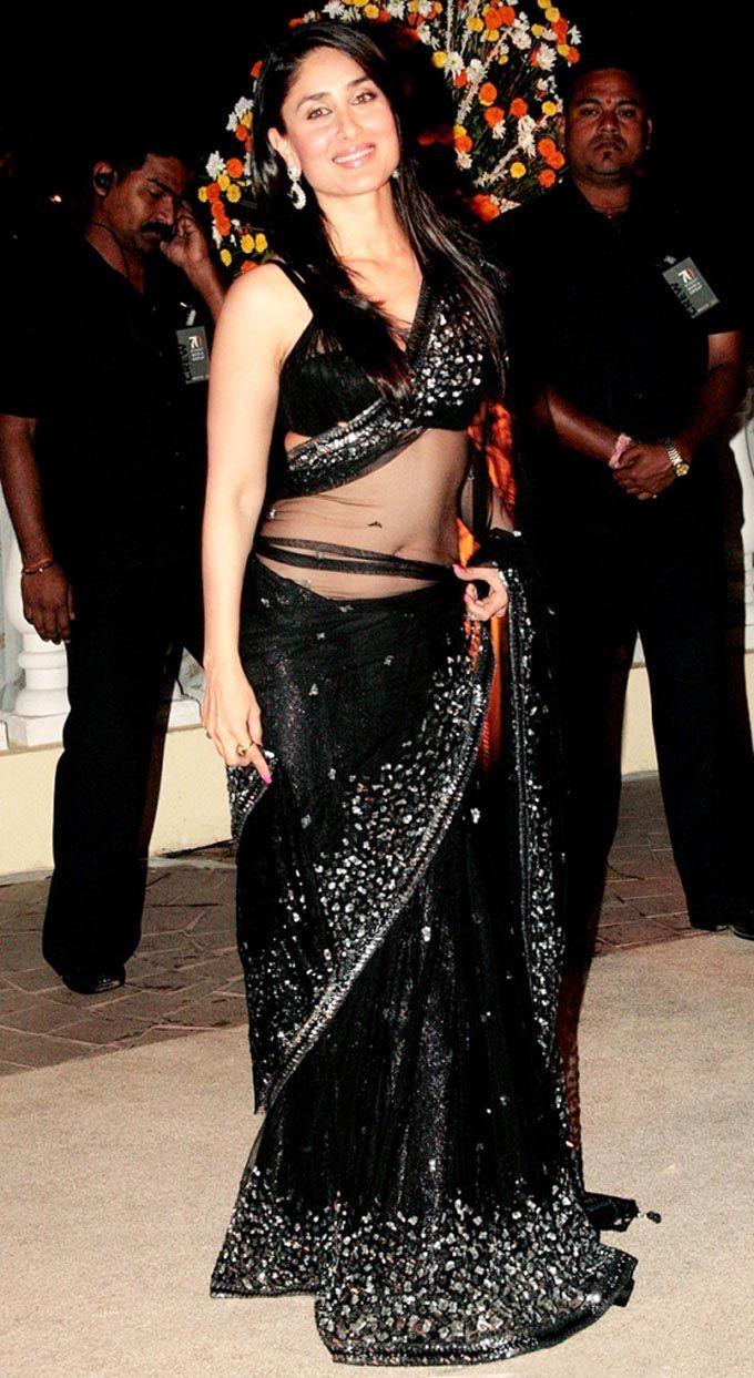 Kareena Kapoor in Black saree #saree #sari #blouse #indian #outfit  #shaadi #bridal #fashion #style #desi #designer #wedding #gorgeous #beautiful