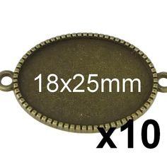 10 connecteurs 18x25mm bronze pour cabochon