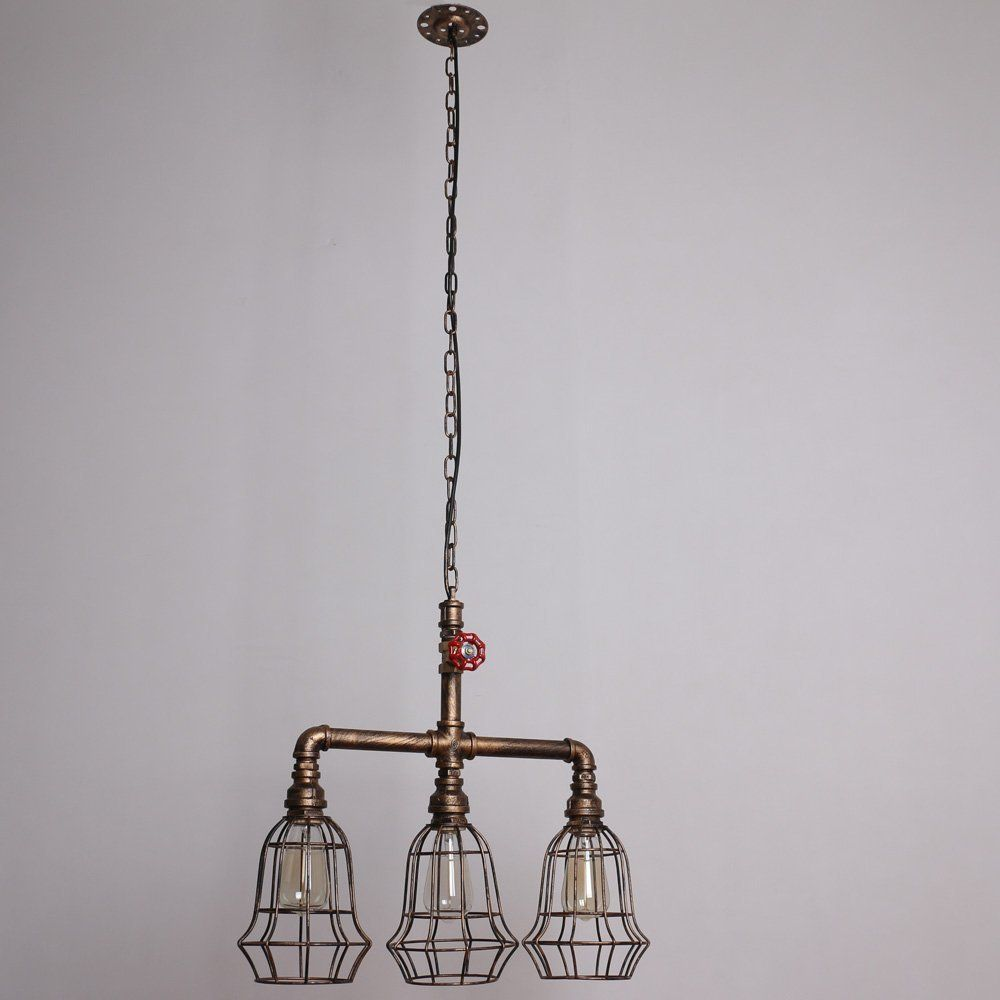 Water Pipe Chain Pendant Light With 3 Lights Painted Finish | Pipe ...