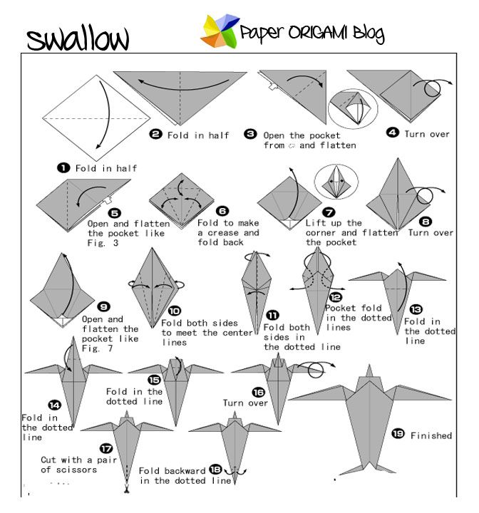 Origami Swallow bird. | Crafts to try | Pinterest | Swallow bird ...