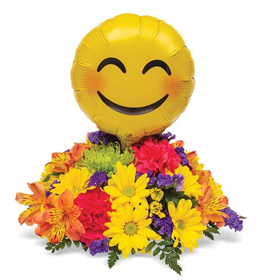 All Smiles Emoji Centerpiece Zoe S House Of Flowers Sympathy Flowers Mylar Balloons Centerpieces