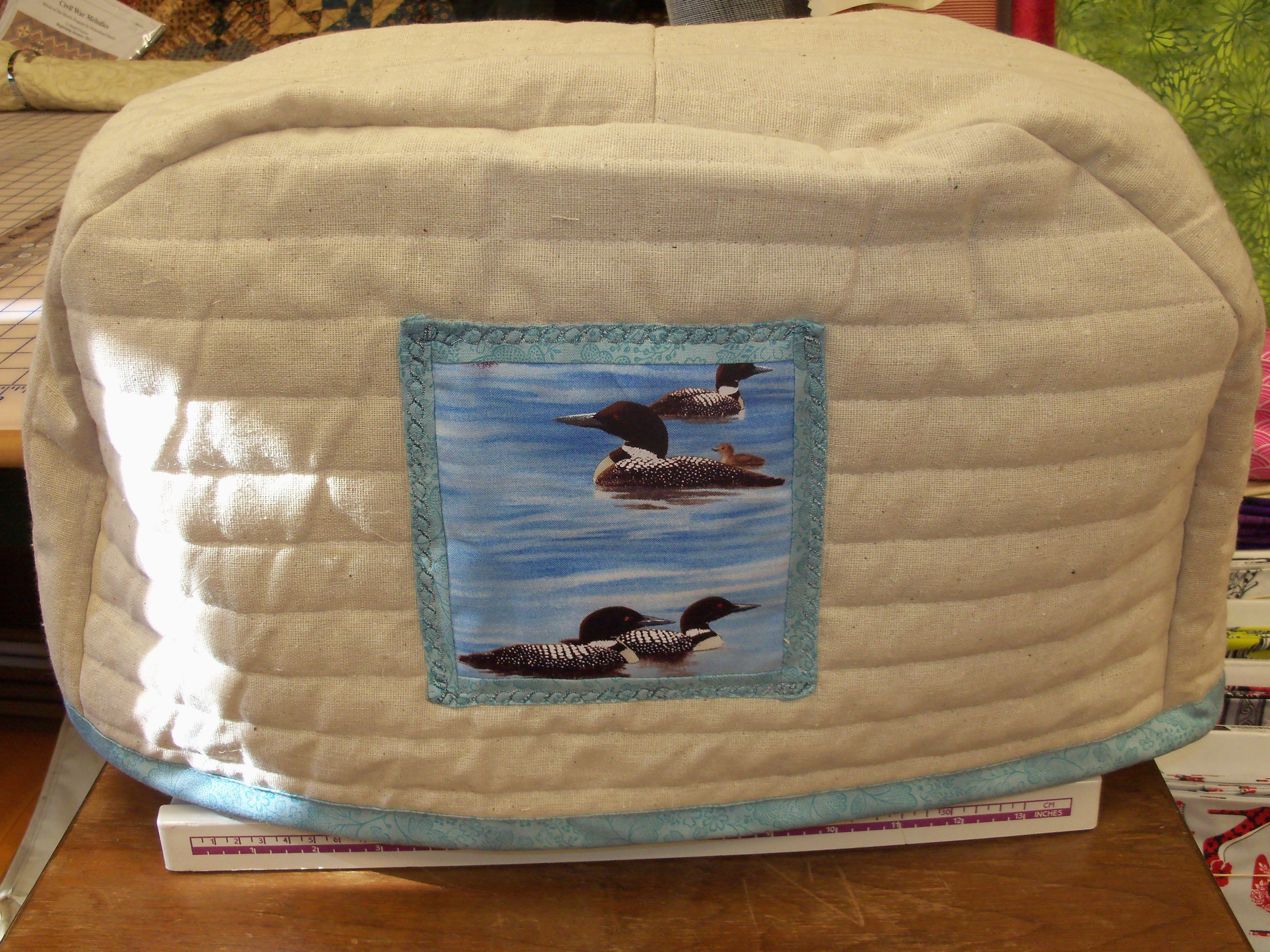 Quilted Osnaburg sewing machine dust cover. Measure the width ...