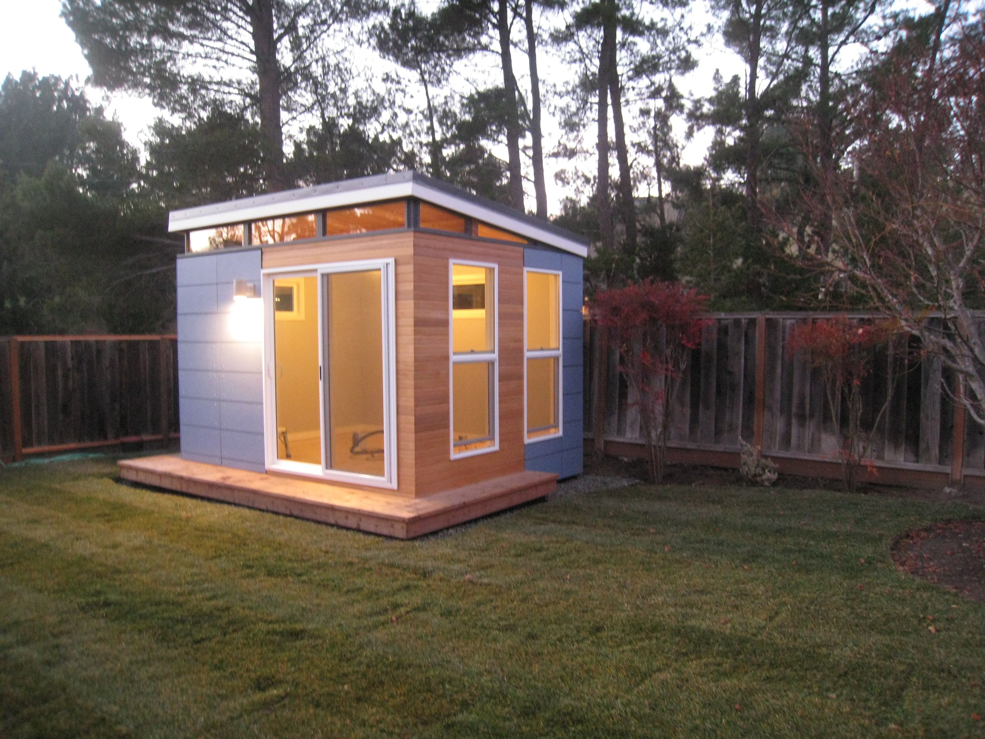Back yard modern shed office home office modern shed for Outside office shed