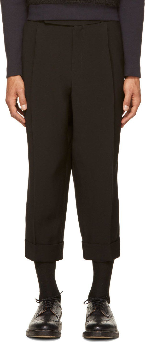 J.W.Anderson - Black Cropped Pillar Trousers $955
