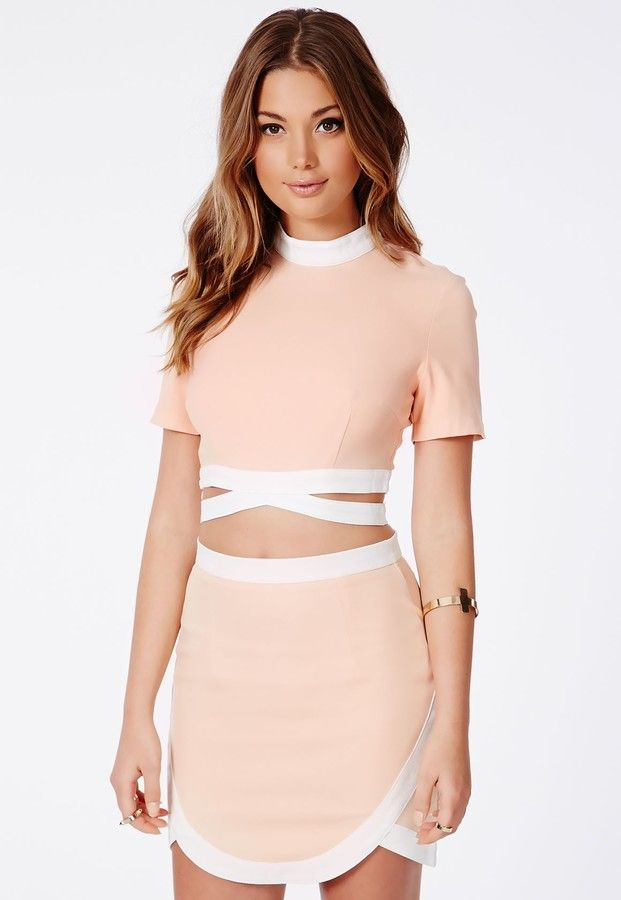 95f0f26f14 Missguided Tereza Nude Contrast Bandage Waist Crop Top on shopstyle.com