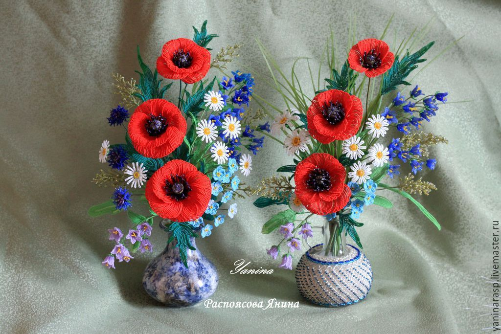 """Купить Маки и другие полевые цветы из бисера. Букет """"Краски лета"""" - разноцветный, маки"""