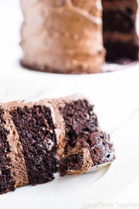 This Dauntless Chocolate Cake was inspired by the Divergent Series and is also known as Black Magic Cake. Three layers of moist chocolate cake wrapped in The Best Chocolate Buttercream makes this one decadent dessert!
