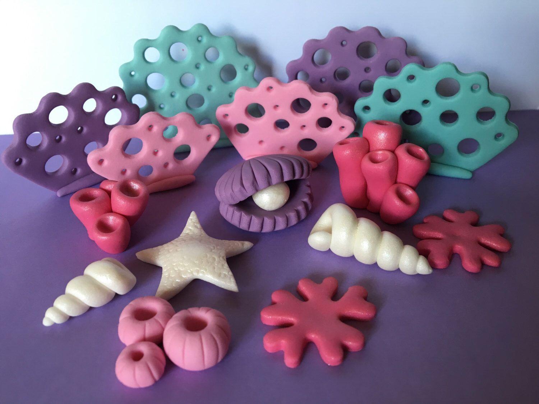 Edible fondant mermaid theme cake toppers cupcake