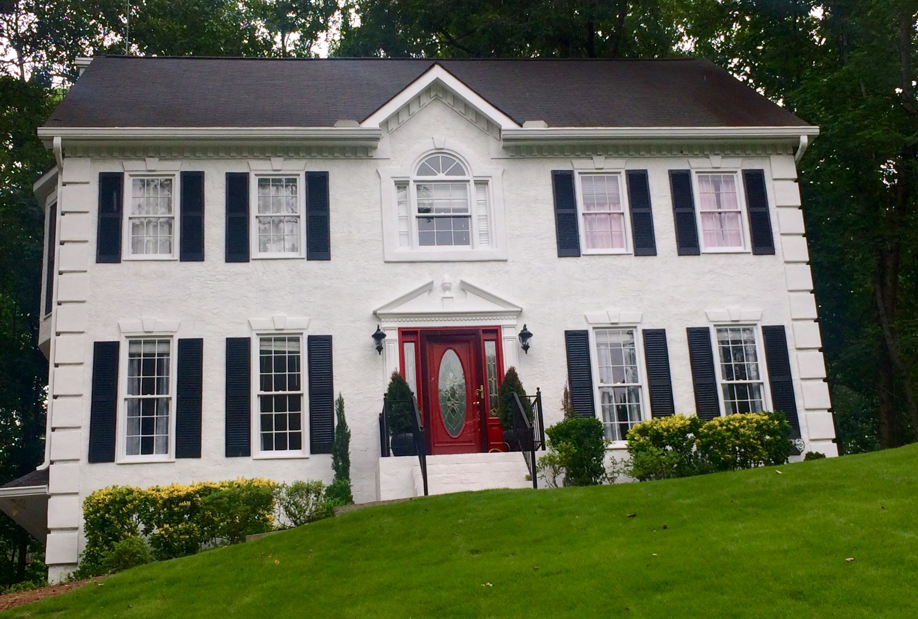 Colonial Revival, White House, Black Shutters, Red Door