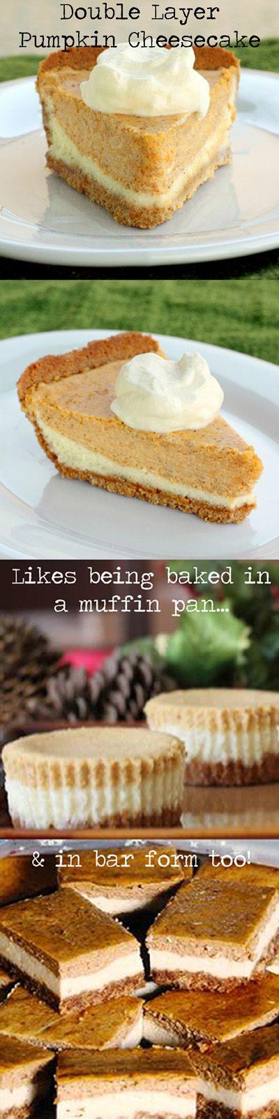 CHEESECAKE / PIE :: Double Layer Pumpkin Cheesecake :: 6 ingredients, 3 spices & 1 store-bought graham cracker crust! Half pumpkin pie, half cheesecake, ALL GOOD! Try drizzling with caramel sauce!   #cheesecake #pumpkinpie
