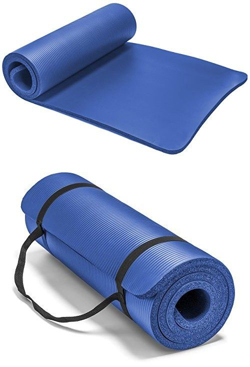Spoga Premium 1 2 Inch Extra Thick High Density Exercise Yoga Mat With Carrying Strap Blue Yoga Mat Yoga Store Yoga Fitness